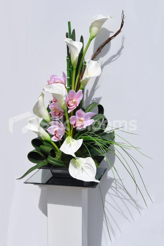 Modern Artificial Calla Lily, Anthurium and Fresh Touch Cymbidium Orchid Floral…