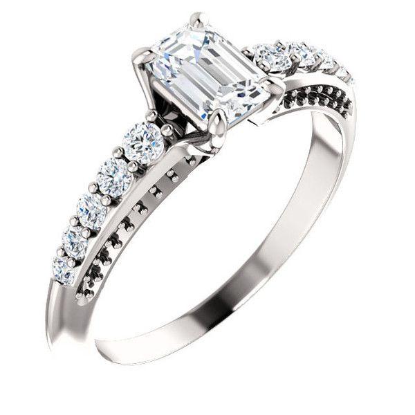 http://rubies.work/0834-ruby-pendant/ 14k White Gold 0.75 Ct Emerald Diamond #Engagement #Ring