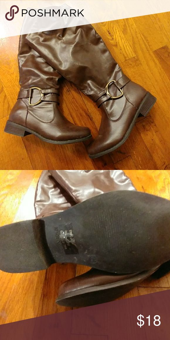 LOWEST $ Journee brown dress boots Worn maybe twice. Couple small scuffs from storing. Trades considered for size S clothing. Journee Collection Shoes Heeled Boots