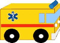 ZIEKENWAGEN:  Benodigheden:  * leeg drinkkarton (bv melk- of sappak) * verf  * karton * lijm * stevig gekleurd papier  * kurk Werkwijze:  * Beschilder het pak geel.  * Knip uit karton 4 wielen, beschilder ze en * plak ze op het pak.  * De ramen, lampen, strepen en ladder op de ambulance maak je met gekleurd papier * Het zwaailicht is gemaakt van een blauw geschilderde kurk. Tip:  * Je kunt er ook nog een tekst op schilderen of een plaatje opplakken.