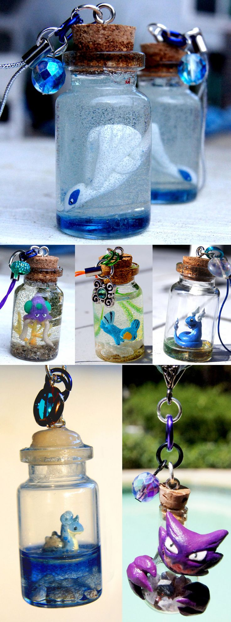 It would be more humane to keep Pokemon in these adorable glass bottles instead of trapped inside a Pokeball all day. These miniature critters seem much happier as they're carefully cased with their preferred surrounding environment. #pokemon