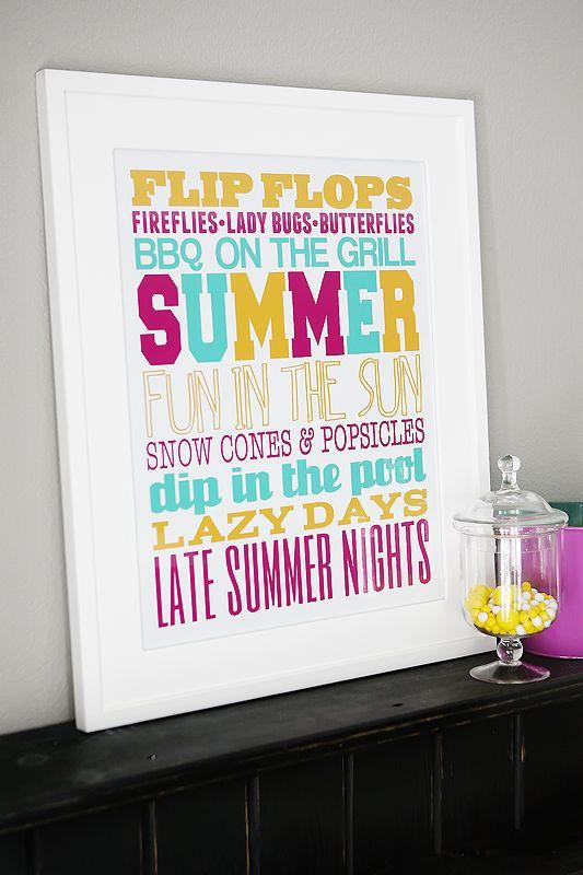 eighteen25: Summer Subway Art: Ideas, Printables, Summer Art, Subwayart, Summer Subway Art, Summer Printable, Summertime, Free Printable, Crafts