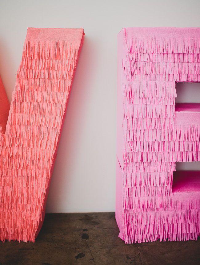 DIY Giant Fringe Love Letters for your reception decor!