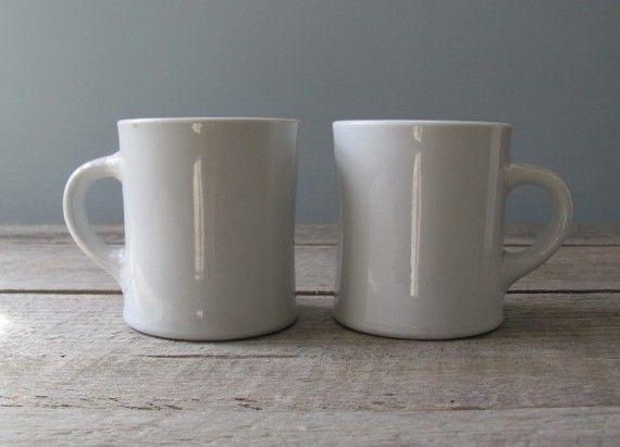 Vintage Diner Mugs by oldschoolfarm on Etsy
