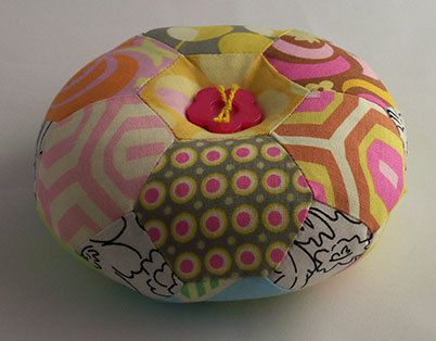Hexagon Patchwork Pin Cushion by dragonflyquiltworks on Etsy, $35.00