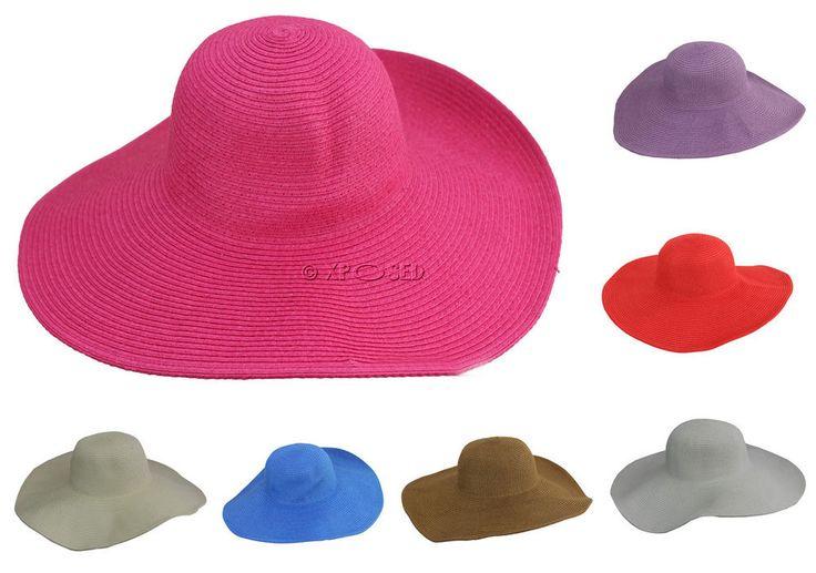 Ladies Womens Wide Large Brim Straw Sun Beach Summer Hat One Size