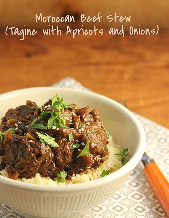 "Moroccan beef stew (tagine) with apricots and onions, and plenty of ""warm"" spices."