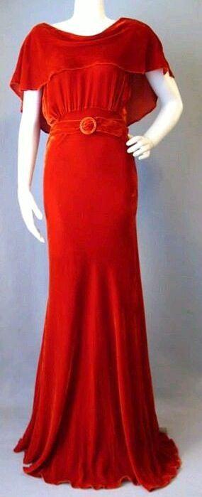 1930s bias cut velvet evening gown.