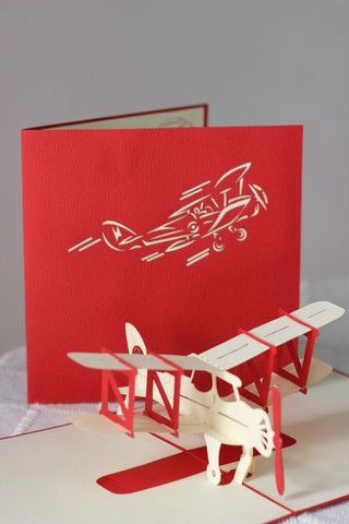 Hand made pop up air plane card...