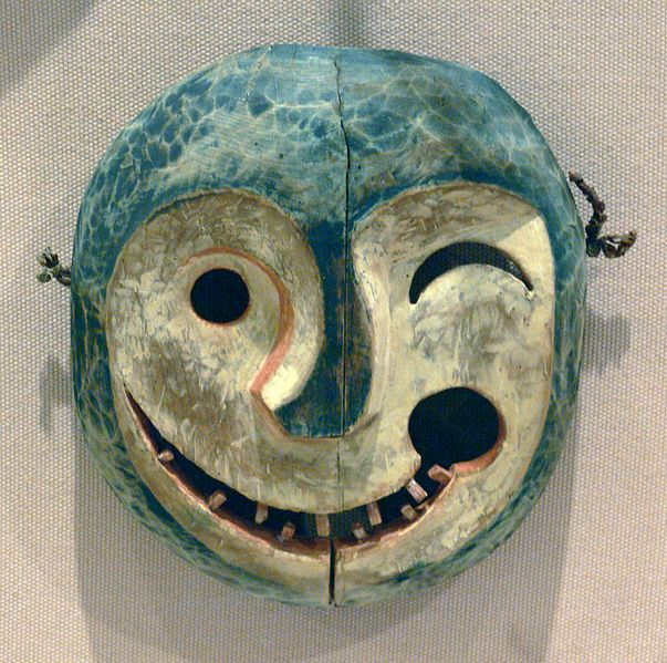 Mask depicting the face of a tunghak (keeper of the game), Yupik Eskimo, Alaska, Yukon River area, late 19th century, wood and paint  Dallas Museum of Art, Dallas, Texas