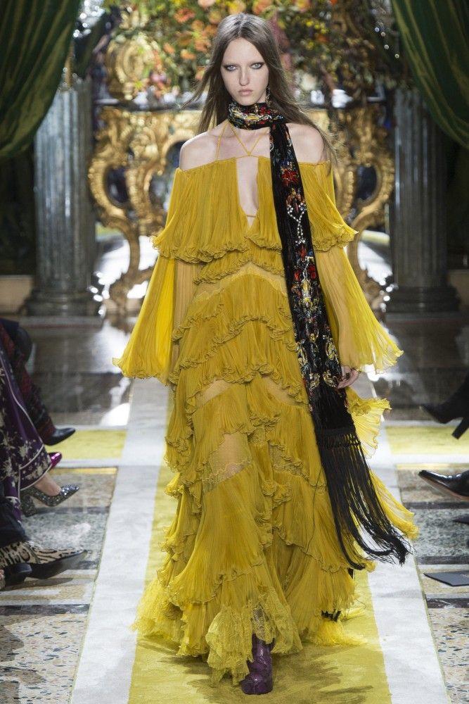 beyonce lemonade roberto cavalli mustard chiffon ruffled dress