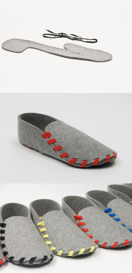 Felt slippers - may take some doing to figure them out - image only.