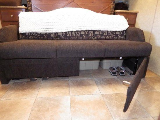 RV Sofa Bed Storage Mod: 2011 Rockwood - Who Knew? Wonder if my pull out couch has room to do this, would be a great place for shoes.