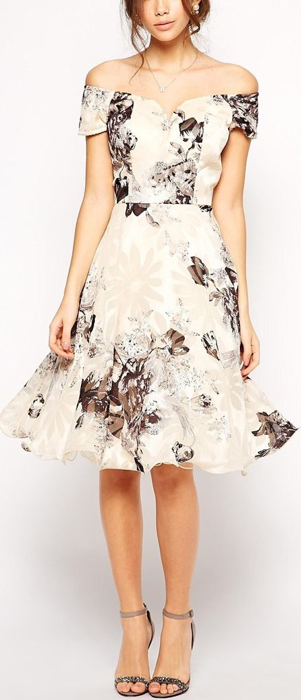 Stitch Fix Stylist: I love this classic floral print and romantic off the shoulder look for a special occasion.