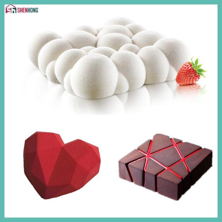 SHENHONG 3PCS Art Cake Mould Pan 3D Grid Block Clouds Diamond Heart Silicone Mold Mousse Silikonowe Chocolate Moule Baking