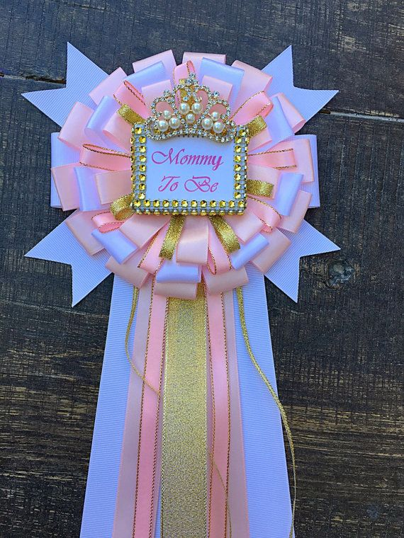 Pink and gold mommy to be pin- Little princess baby shower mommy to be pin - little princess corsage- pink and gold baby shower-pearls pin