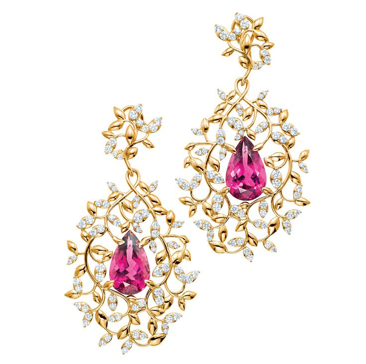 Palomas Olive Leaf earrings with pear-shaped rubellites and diamonds in 18ct gold by Paloma Picasso for Tiffany & Co