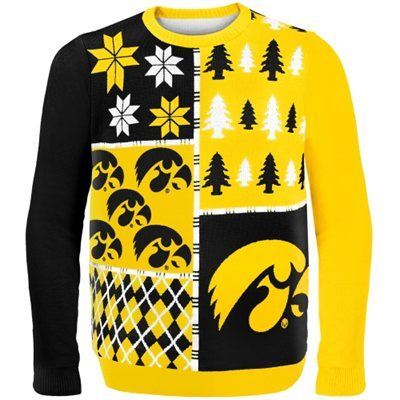 Iowa Hawkeyes Gold Busy Block Ugly Sweater