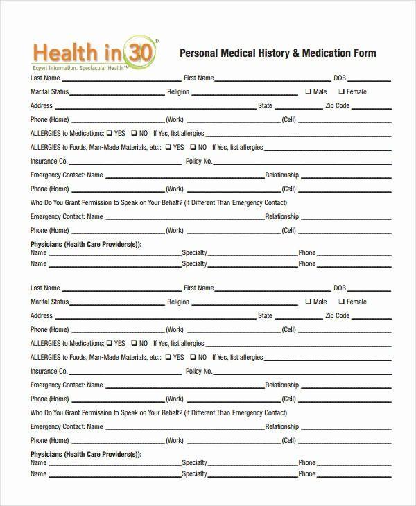 Blank Medical History Form Printable Elegant Medical History Form 9 Free Pdf Documents Download Health History Form Medical History Health History