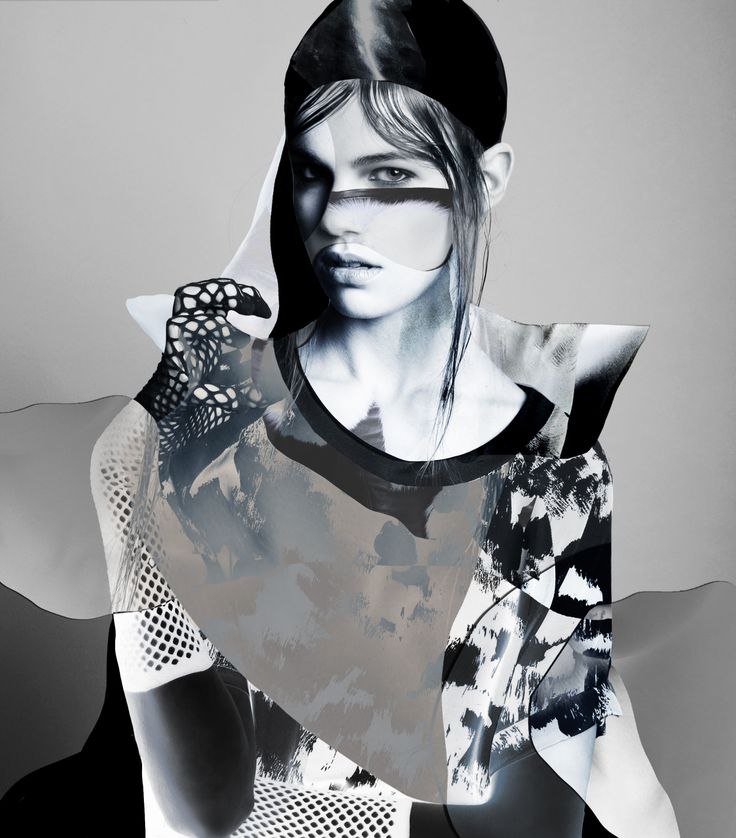photomontage, fashioncollage, digital illustration, mode, model, portrait, black and white, editorial, ruben tomas, photographer, louise mertens, mixedmedia, multimedia