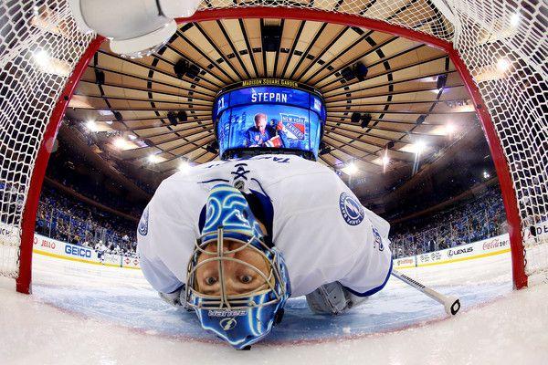 Ben Bishop Photos: Tampa Bay Lightning v New York Rangers - Game One