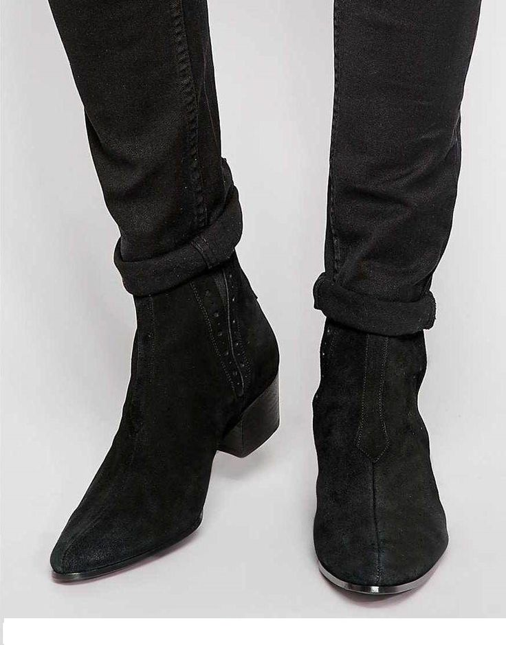 Handmade Men black Suede Chelsea boots, Men ankle boots, Men Chelsea boots - Boots