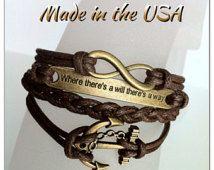 Infini où theres un volonté theres un moyen d'ancrage bracelet, bracelet à breloques, bracelet de l'amitié