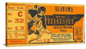 SEC football ticket canvas art. 1950 Alabama vs. Tennessee. The Vols went on to win the 1950 National Title in several polls. http://www.shop.47straightposters.com/1950-Alabama-vs-Tennessee-Football-Ticket-Art-1950-AL-TN.htm