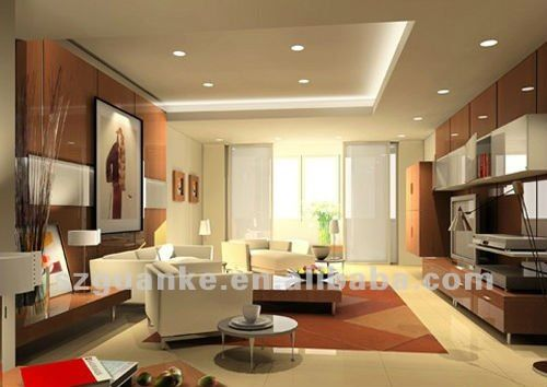 Living Room Modern Decoration With Big Drawing Design Have Furniture Sofa Sets Lighting Around Under Chandelier
