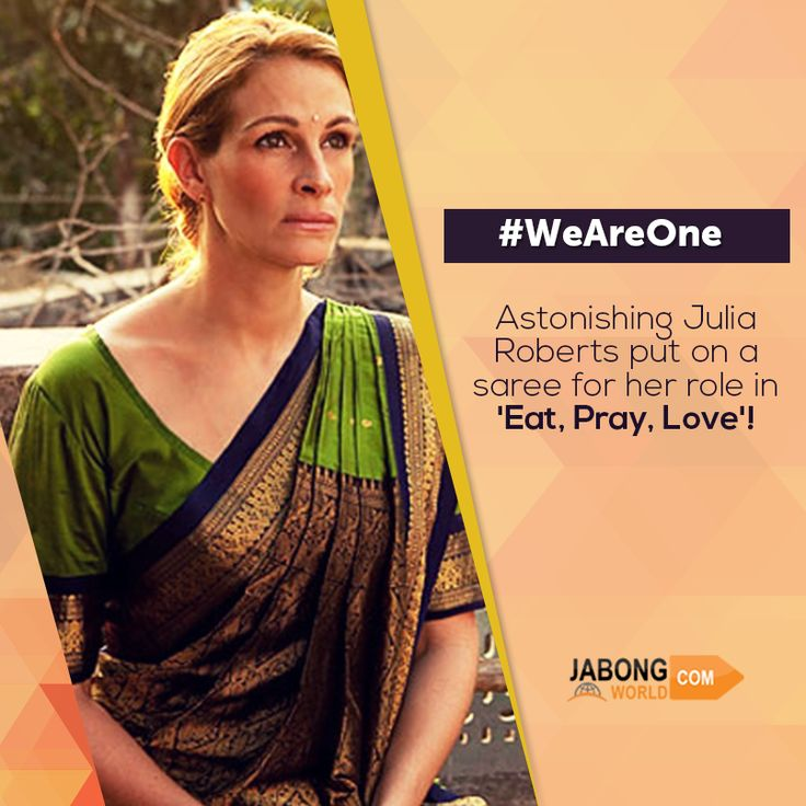 Julia Roberts being the Pretty Woman she is, drapes herself in a saree for her role in 'Eat Pray Love'.  What do you think about this beautiful lady? #WeAreOne #Beautiful  Check out such attires for yourself here- http://www.jabongworld.com/pink-embroidered-saree-1425234.html?utm_source=ViralCurryOrganic&utm_medium=Pinterest&utm_campaign=TouchTrendsPinkSaree-01-june2015