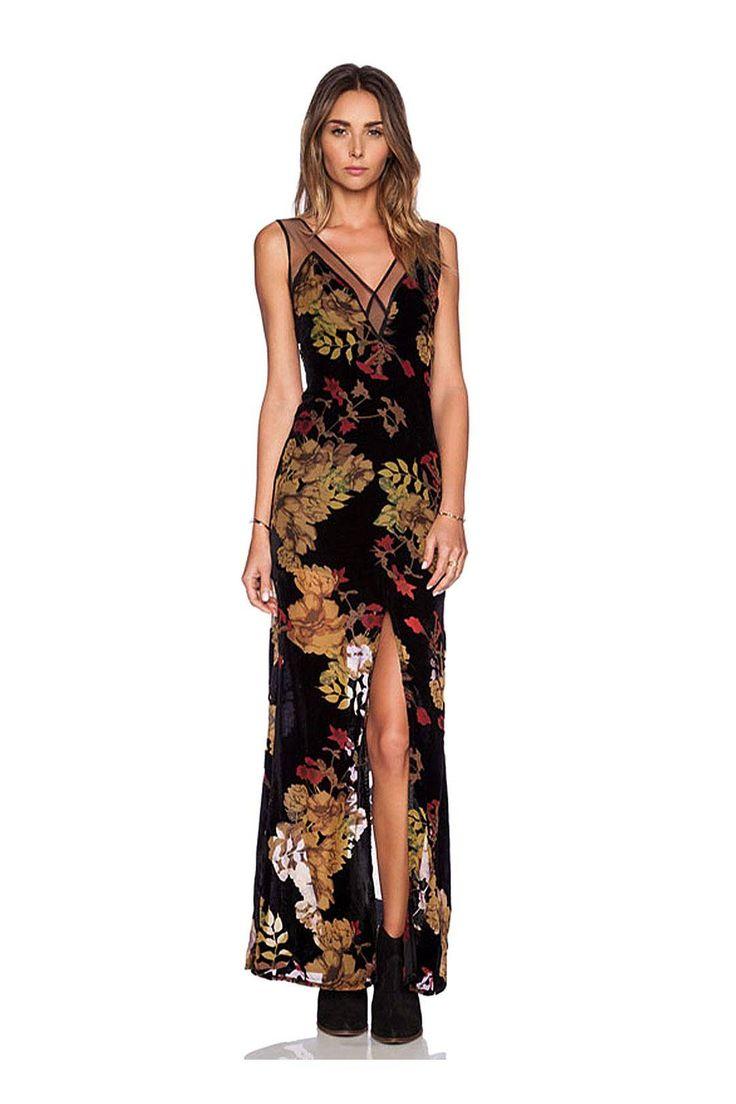 Black Floral Dress with V Front and V Back - Get yours http://www.yoins.com/Black-Floral-Dress-with-V-Front-and-V-Back-p-965647.html