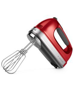 KitchenAid Empire Red 9-Speed Hand Mixer: Housing a vibrant LCD display, this nine-speed unit is perfect for anyone looking for a bargain between sleek design and functionality. The hand mixer has a smooth operation and can work through any mixture without waking up the entire family. It comes with a couple of attachments made out of stainless steel including a whisk, beaters and blending rod. So you get the complete package, and you get it at a great price.