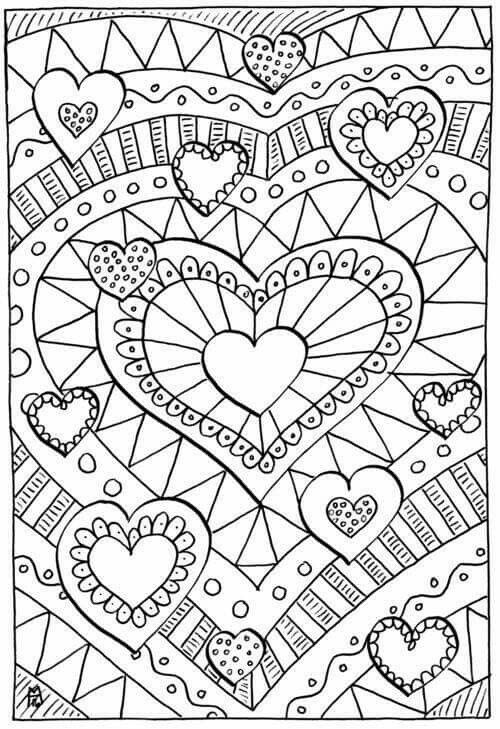 Hearts/Valentine's Day/Love - Coloring Page/Line Art Drawing/B&W Image