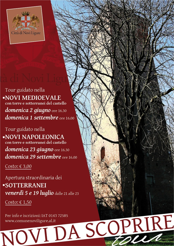 Questo fine settimana Novi Ligure offre interessanti tour guidati. E' una bella occasione per conoscere meglio il nostro territorio! Noi ci andiamo!    This weekend Novi Ligure offers interesting guided tours. It 'a good opportunity to learn more about our land! We'll be there!