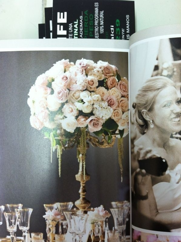 Tall vintage rose centerpiece