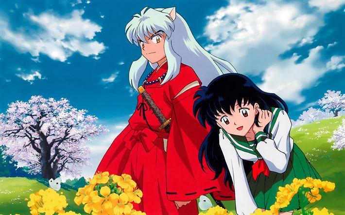 Download imagens InuYasha, 4k, manga, Luta Higurashi