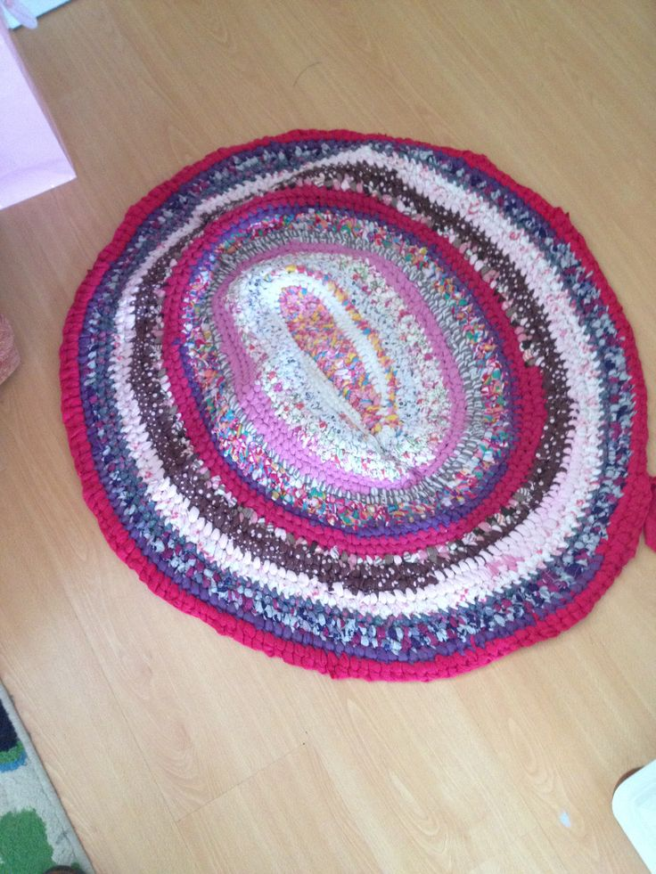 My homemade rag rug made up from my daughters old clothes. A great way o keep memories.