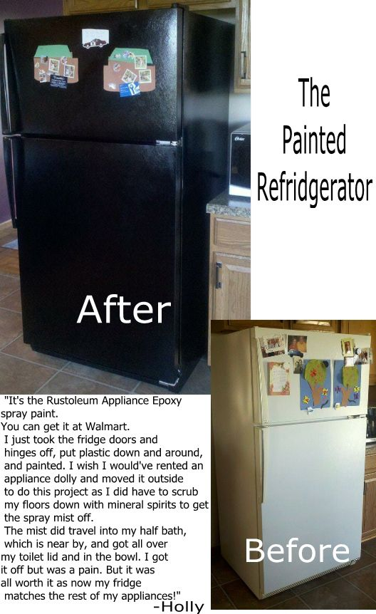 Painted Fridge - cheap and easy way to have the fridge match the rest of the appliances..!!