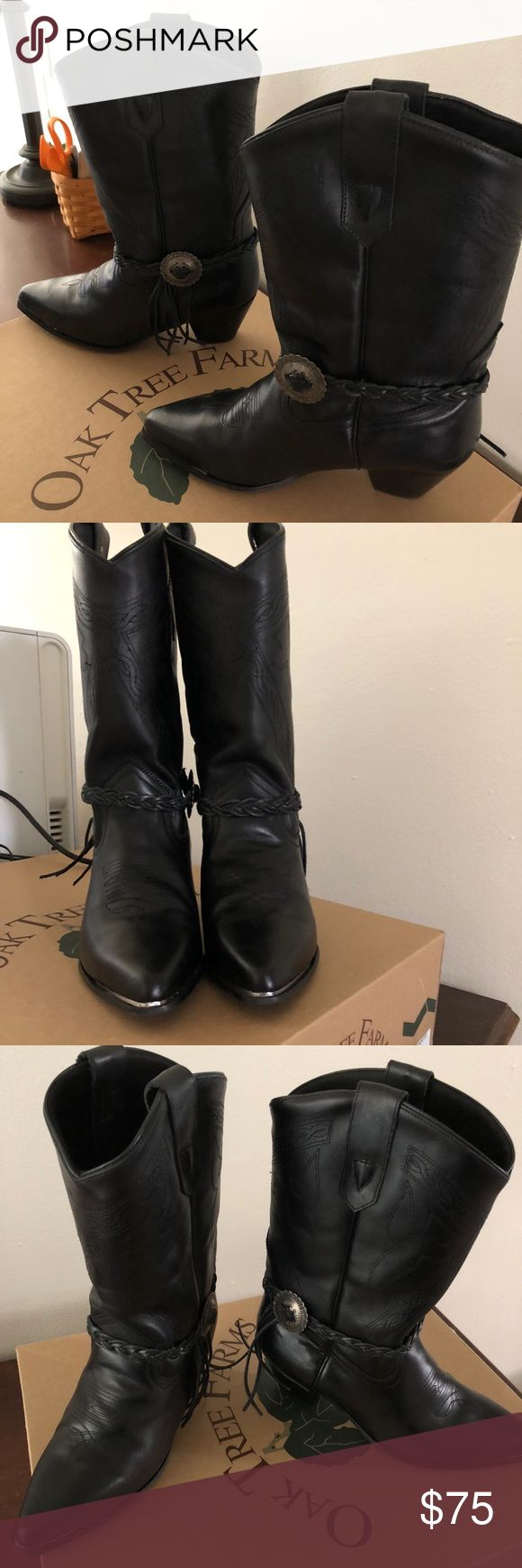 Oak Tree Farms EUC Leather Mesquite Cowgirl Boots EUC Mesquite Style Black Oak Tree Farms Crafted and Fashionable durable Leather Cowgirl boots - Size 8. 12 inches high, 2 inch heel, only wore once.  Lovely stitched details, braided straps, silver tone hardware, and steel toes. oak tree farms Shoes Heeled Boots