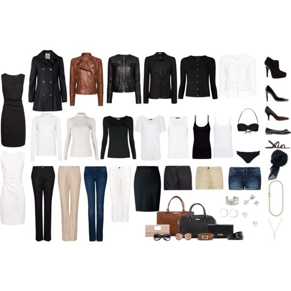 Um. This is my exact wardrobe, minus the fancy purses (which I don't care about) and the brown leather coat. I have a few more tee shirts, though :)
