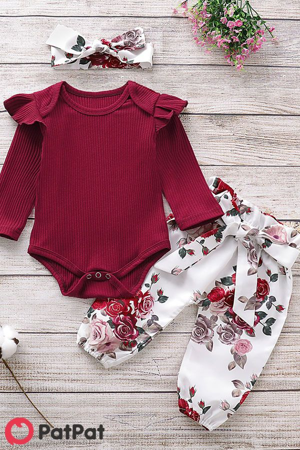 Baby Girl Solid Flutter Sleeve Bodysuit And Floral Bow Pants With Headband Set Cute Baby Clothes Girl Outfits Baby Girl Fashion