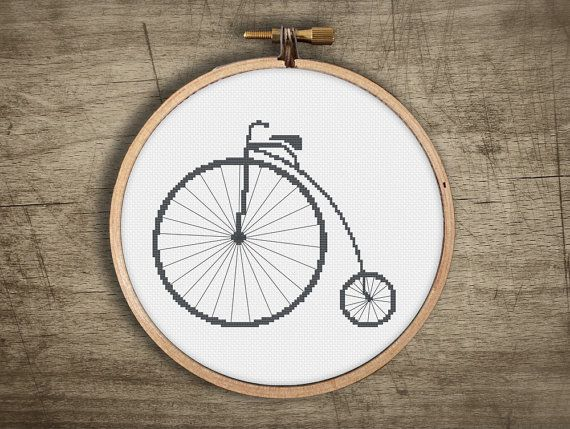 ▲▼▲ retro modern big wheel urban bicycle cross stitch pattern ▲▼▲  hand designed cross stitch pattern  this pattern comes as a PDF file that you can