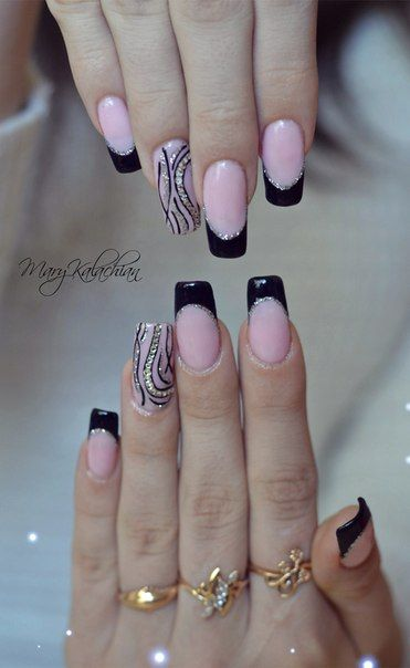 Black french manicure: the boundary between the gentle pink and black gel-lacquers is marked by a thin thread of rhinestones