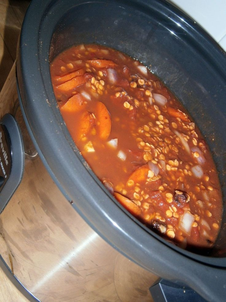Slow Cooker Moroccan Spiced Lentil & Veggie Stew  (vegan, gluten/wheat/nut/seed/grain/corn/soy/refined sugar free)