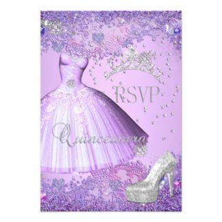 RSVP Reply Quinceanera Purple Tiara Dress Shoe Card