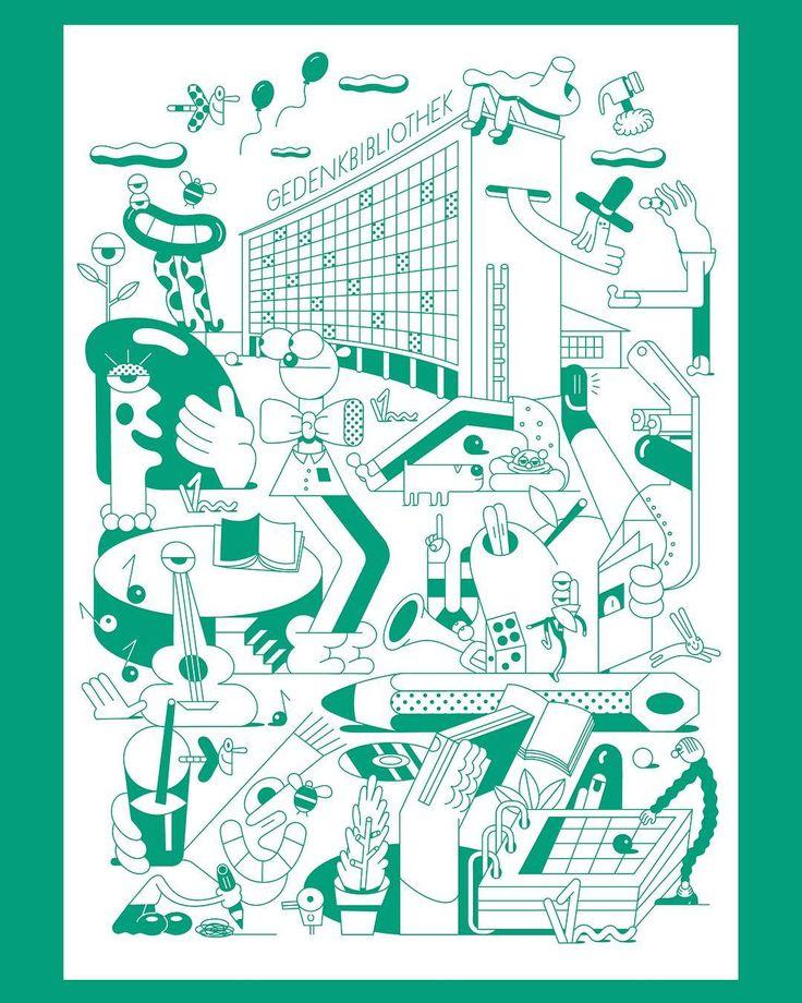 "Poster Illustration for the ""Zentrale Landesbibliothek Berlin""  ✌️AD by @state__________ ✌  ______________________  #illustration #illo #illustrator #sebastianschwamm #drawing #digital #digitalart #vector #vectorart #art #character #design #graphics #graphicdesign #wimmelbild #green #library #berlin #poster #comission #books #nature #family #kids #comicart #instaart #instadraw"