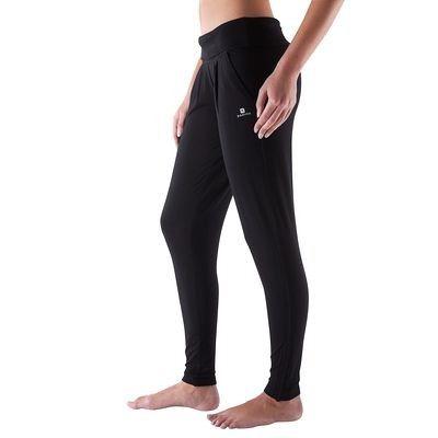 Pantaloni Abbigliamento fitness,Danza - Pantaloni donna fluidi yoga neri DOMYOS - Abbigliamento Palestra