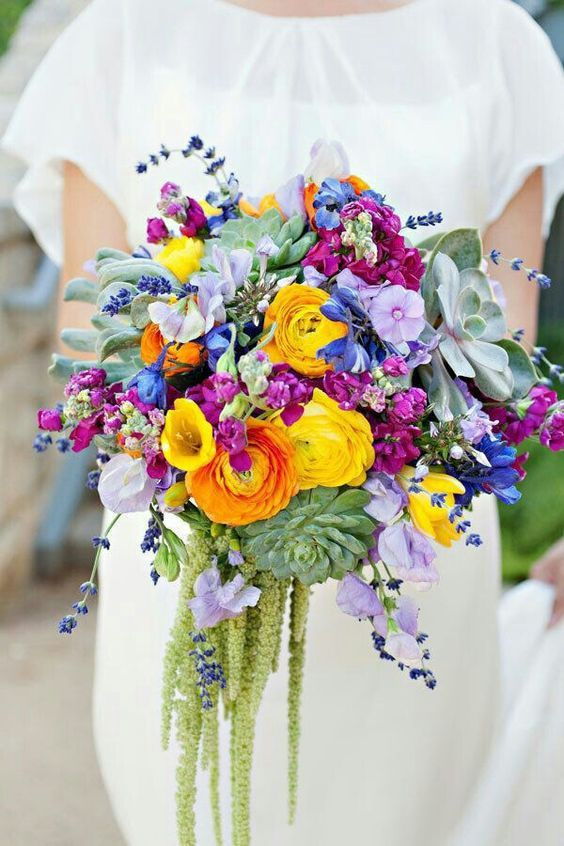 Colorful Bridal Bouquet Composed Of Several Types Of Succulents, Yellow Ranunculus, Yellow Tulips,