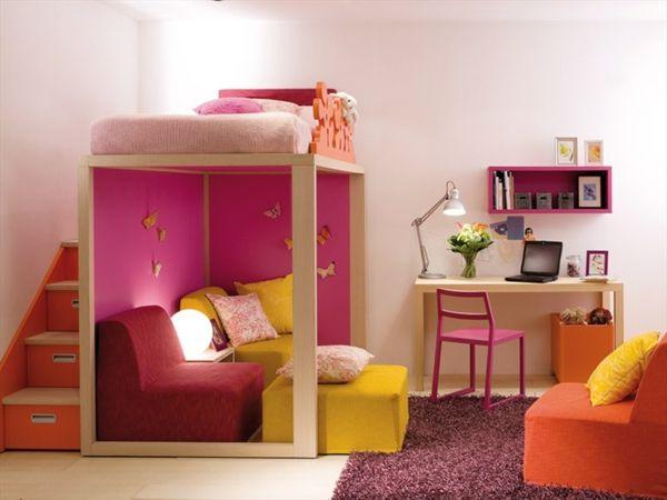 Mädchenzimmer rosa Farbe Treppen Geländer Stauraum