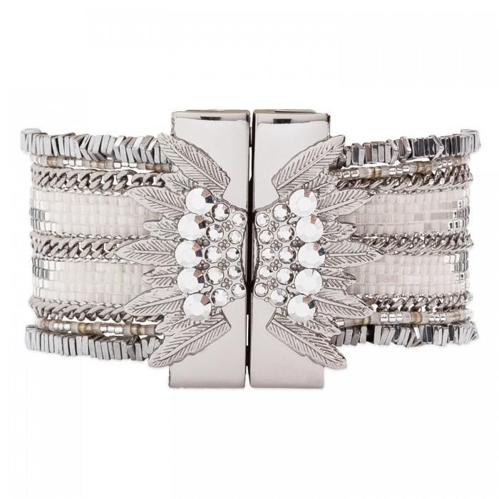 The Hipanema Eternity is an ethnic chic handmade bracelet covered with colorful beads weaved in chains. The Hipanema Eternity Silver features: A silver-tone mag